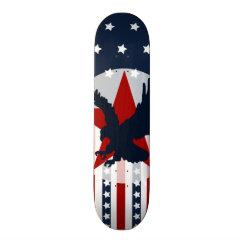 Patriotic Stars and Stripes Bald Eagle American Skateboard Deck