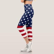 Patriotic Stars and Stripes Capri Leggings