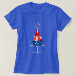 Patriotic Stars and Stripes Celebration Cake T-Shirt