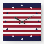 PATRIOTIC STARS AND STRIPES CLOCK