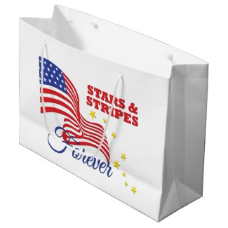 Patriotic stars and stripes forever word art party large gift bag