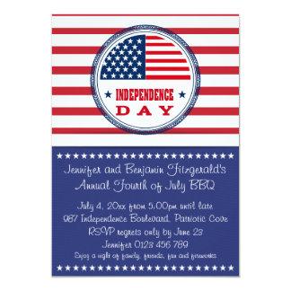 Patriotic Stars and Stripes July 4th BBQ 5x7 Paper Invitation Card