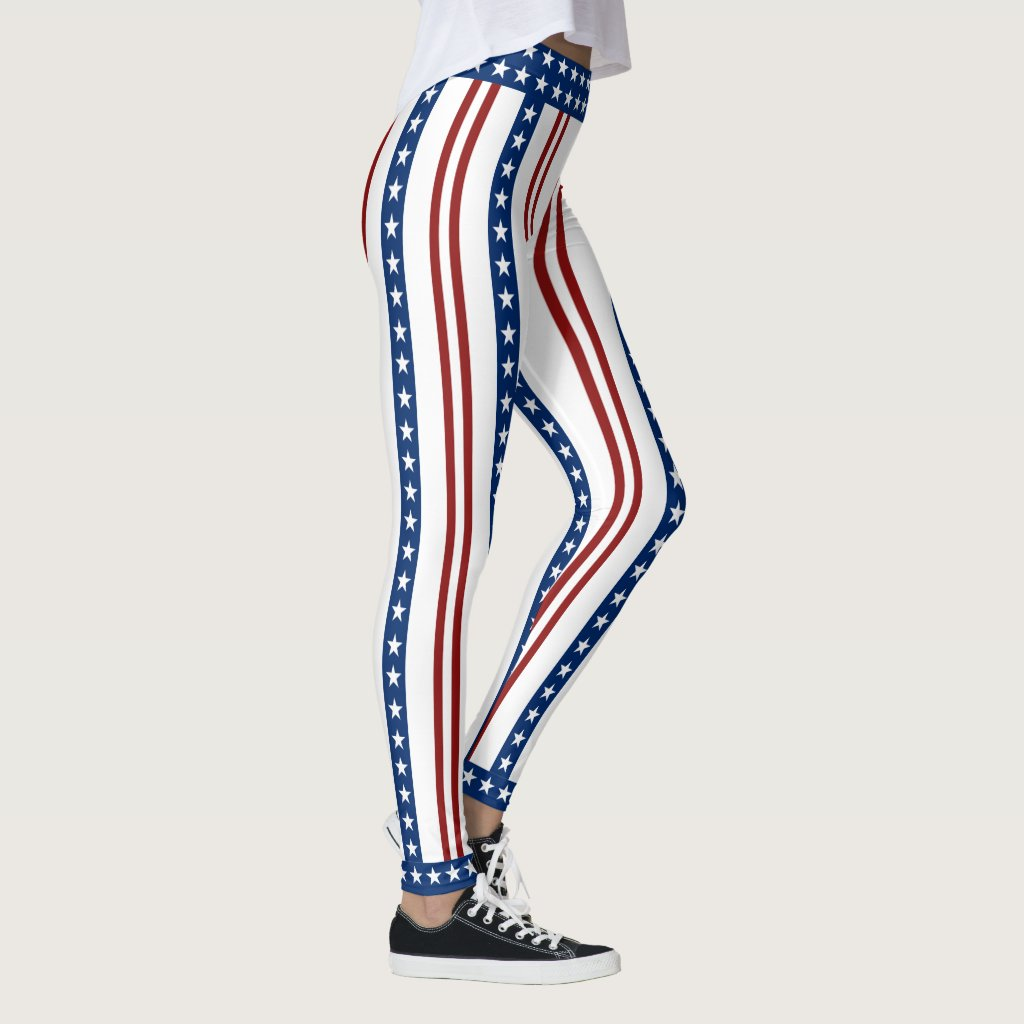 Patriotic Stars and Stripes Leggings