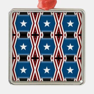 Patriotic Stars And Stripes Metal Ornament