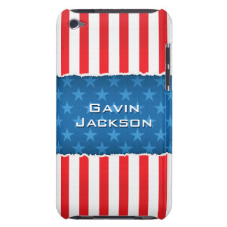 Patriotic stars and stripes personalized iPod case iPod Case-Mate Case