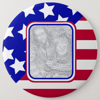 patriotic Stars and stripes photo frame Button