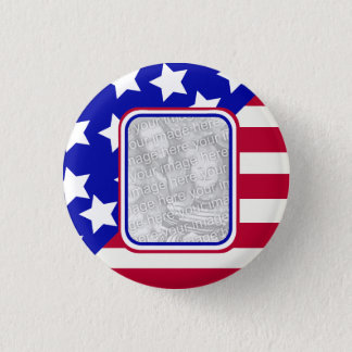 patriotic Stars and stripes photo frame Pinback Button