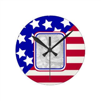 patriotic Stars and stripes photo frame Round Clock