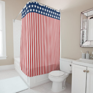 Patriotic Stars And Stripes Red White And Blue Shower Curtain
