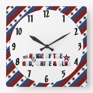 Patriotic Stars and Stripes Square Wall Clock