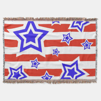 Patriotic Stars and Stripes Throw Blanket