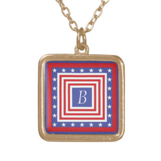 Patriotic Stars and Stripes - With Monogram Square Pendant Necklace