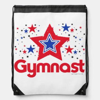 Patriotic Stars Gymnastics by Golly Girls Drawstring Bag