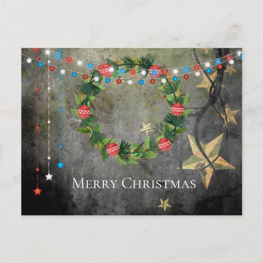 Patriotic Christmas Lights.Patriotic Stars N Lights Merry Christmas Wreath Holiday Postcard