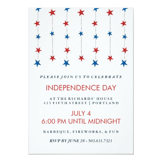 Patriotic Stars on Strings Independence Day Party Card
