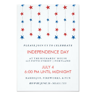 Patriotic Stars on Strings Independence Day Party Invitation