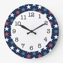 Patriotic Stars Red White & Blue Round Wall Clock