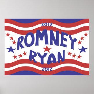 Patriotic Stars Romney Ryan Poster