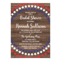 Patriotic Stars Rustic 4th of July Bridal Shower Card