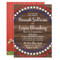 Patriotic Stars Rustic 4th of July Photo Wedding Invitation