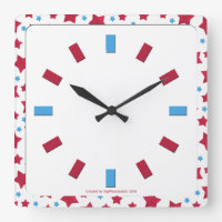 Patriotic Stars Square Clock