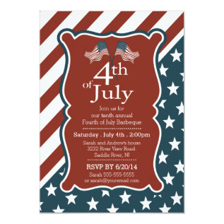 Patriotic Stars & Stripe 4th of July Party Card at Zazzle