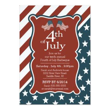 invitationstop Patriotic Stars & Stripe 4th of July Party Card