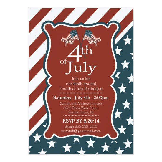 Patriotic Stars & Stripe 4th of July Party Card