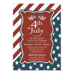 "Patriotic Stars & Stripe 4th of July Party 5"" X 7"" Invitation Card"