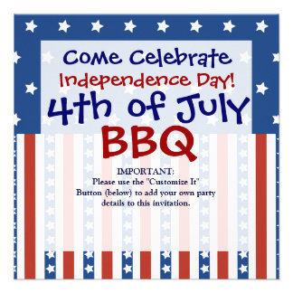 Patriotic Stars Stripes 4th of July Invitations
