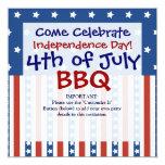 "Patriotic Stars Stripes 4th of July Invitations 5.25"" Square Invitation Card"
