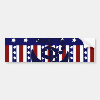 Patriotic Stars Stripes Anchor Sailor Pattern Bumper Sticker