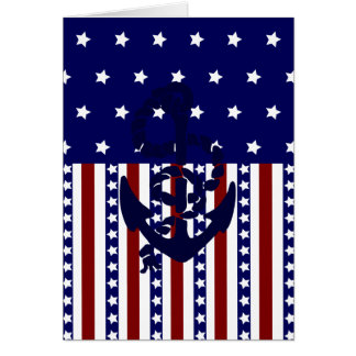 Patriotic Stars Stripes Anchor Sailor Pattern Greeting Card