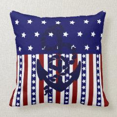 Patriotic Stars Stripes Anchor Sailor Pattern Pillow