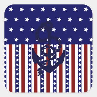 Patriotic Stars Stripes Anchor Sailor Pattern Square Sticker