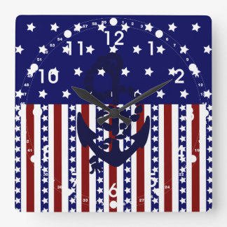 Patriotic Stars Stripes Anchor Sailor Pattern Square Wall Clock
