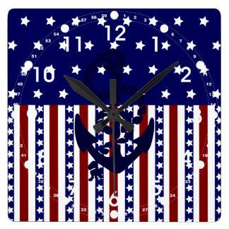 Patriotic Stars Stripes Anchor Sailor Pattern Square Wall Clock