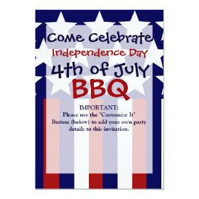 Patriotic Stars Stripes Freedom Flag 4th of July 5x7 Paper Invitation Card