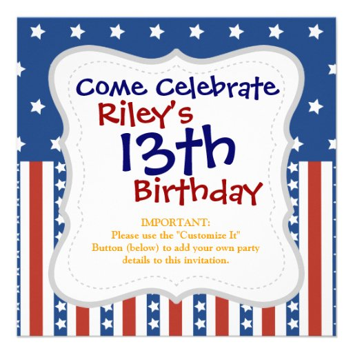 Patriotic Stars Stripes Freedom Flag 4th of July Personalized Invite