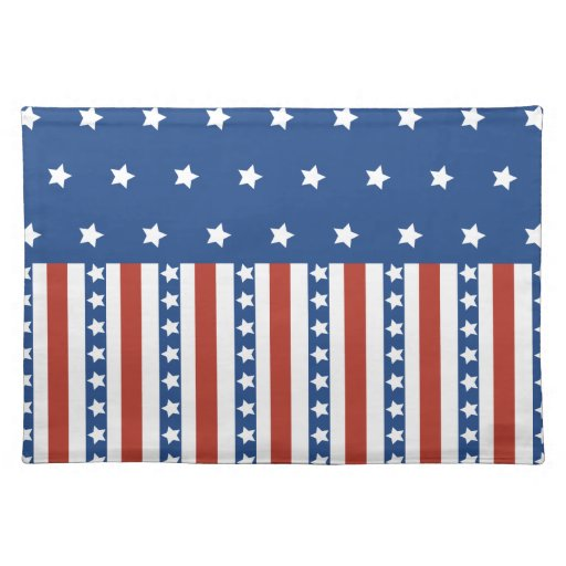 Patriotic Stars Stripes Freedom Flag 4th of July Cloth Placemat
