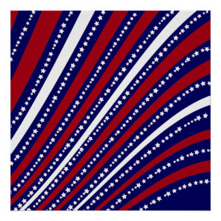 Patriotic Stars Stripes Freedom Flag 4th of July Poster