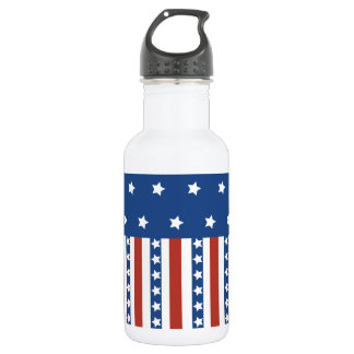 Patriotic Stars Stripes Freedom Flag 4th of July Stainless Steel Water Bottle