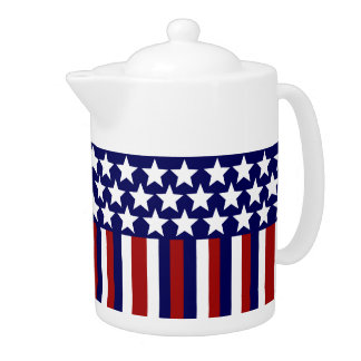 Patriotic Stars Stripes Freedom Flag 4th of July Teapot
