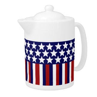 Patriotic Stars Stripes Freedom Flag 4th of July Teapot