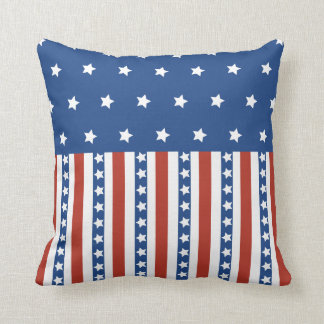 Patriotic Stars Stripes Freedom Flag 4th of July Throw Pillow