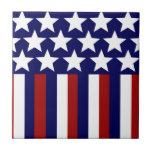Patriotic Stars Stripes Freedom Flag 4th of July Ceramic Tile