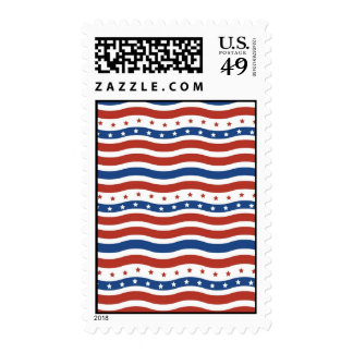 Patriotic Stars Stripes Freedom Flag Fourth of Jul Stamps