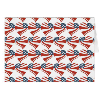 Patriotic Stars Stripes Freedom Flag Hearts 4th of Card