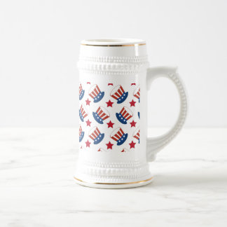 Patriotic Stars Stripes Freedom USA Hat Design Beer Stein