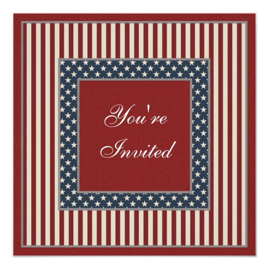 Patriotic Stars & Stripes July 4th Party Invites